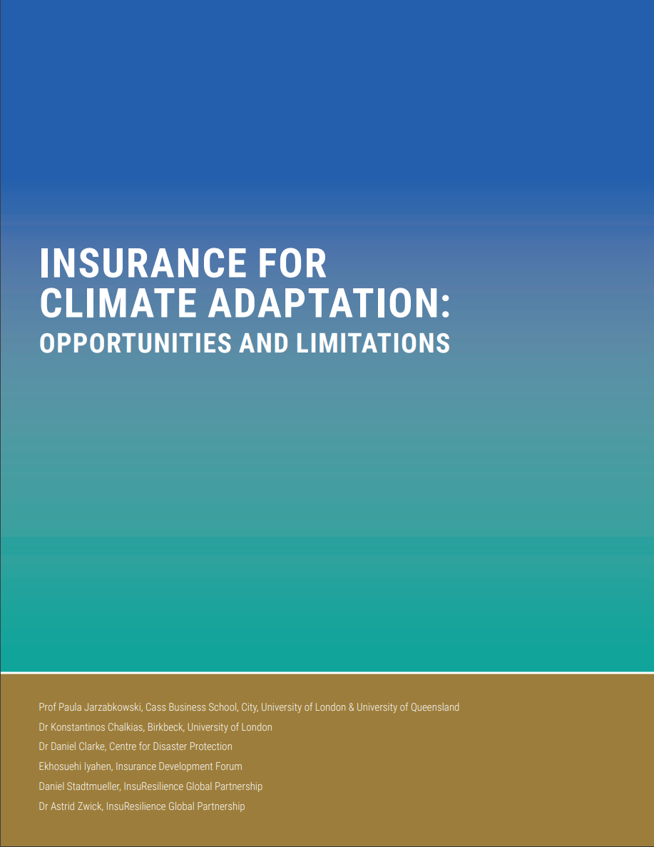 Insurance for climate adaptation: Opportunities and Limitations